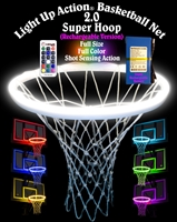 Light Up Action Basketball Net 2.0 Super Hoop (Rechargeable Version) Lighting System Full Size Full Color Shot Sensing Action
