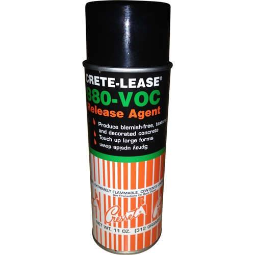 "Crete Molds' Crete Lease 880-VOC is a mineral based release agent using New Chemistry ""Green"" technology.  Exceeds all VOC and environmental regulations. 12.5 oz. aerosol can."