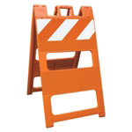 "Plasticade Barricade Type I Orange - 8"" x 24"" Top Panel High Intensity Prismatic Sheeting"