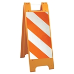 "Minicade Orange - 12"" x 24"" High Intensity Prismatic Striped Sheeting (side A) 12"" x 24"" High Intensity Prismatic Sign Legend (side B)"