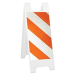 "Minicade White - 12"" x 24"" Diamond Grade Striped Sheeting (side A) 12"" x 24"" Diamond Grade Sign Legend (side B)"