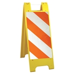 "Minicade Yellow - 12"" x 24"" High Intensity Prismatic Striped Sheeting (side A) 12"" x 24"" High Intensity Prismatic Sign Legend (side B)"