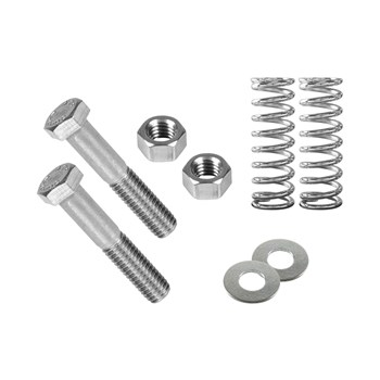 Assembly  hardware for attaching the two feet to upright panel. Includes two springs, two hex bolts, two washers, and two locknuts.