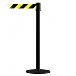 Slimline Post Basics Black Base/Black Tube/Black Head Standard 7.5' No Custom Black/Yellow Webbing Standard Belt End