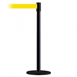 Slimline Post Basics Black Base/Black Tube/Black Head Standard 7.5' No Custom Yellow Webbing Standard Belt End