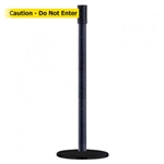 "Slimline Post Basics Black Base/Black Wrinkle Tube/Black Wrinkle Head Standard 7.5' No Custom Yellow Webbing/Black ""Caution - Do Not Enter"" Standard Belt End"