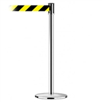 Slimline Post Universal Polished Chrome Base/Polished Chrome Tube/Polished Chrome Head Standard 7.5' No Custom Black/Yellow Chevron Webbing Standard Belt End