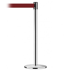 Slimline Post Universal Polished Chrome Base/Polished Chrome Tube/Polished Chrome Head Standard 7.5' No Custom Maroon Webbing Standard Belt End
