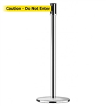 "Slimline Post Universal Polished Chrome Base/Polished Chrome Tube/Polished Chrome Head Standard 7.5' No Custom Yellow Webbing/Black ""Caution - Do Not Enter"" Standard Belt End"