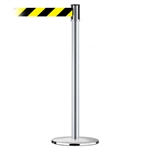 Slimline Post Universal Satin Chrome Base/Satin Chrome Tube/Satin Chrome Head Standard 7.5' No Custom Black/Yellow Chevron Webbing Standard Belt End