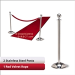 Stainless Steel Stanchion Kit: 2 + 1 velvet ropes (Ball Top with Dome Base)