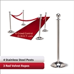 Stainless Steel Stanchion Kit: 4 + 3 velvet ropes (Ball Top with Dome Base)