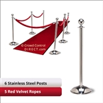 Stainless Steel Stanchion Kit: 6 + 5 velvet ropes (Ball Top with Dome Base)