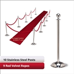 Stainless Steel Stanchion Kit: 10 + 9 velvet ropes (Ball Top with Dome Base)