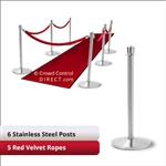Stainless Steel Stanchion Kit: 6 + 5 velvet ropes (Crown Top with Flat Base)
