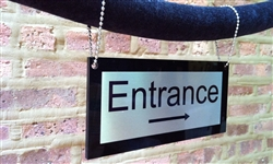 Hanging Velvet Rope Sign - Steel with steel chain