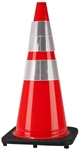 "Traffic Cone 28"" in. Red/Orange  with Black Base & Reflective Collar"