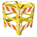 Safegate Manhole Guard, with four sections, sheeted with High Intensity Prismatic grade striped sheeting on each section