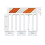 Strongwall ADA White Pedestrian Barricade with high intensity prismatic striped sheeting on two sides -