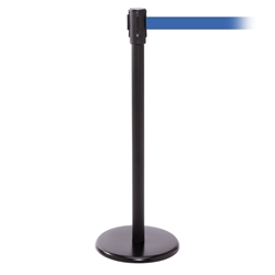 QueuePro 200, Black, Barrier with 11' Light Blue Belt