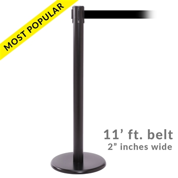 SALE - QueuePro 250B, Black Stanchion with 11' ft. belt