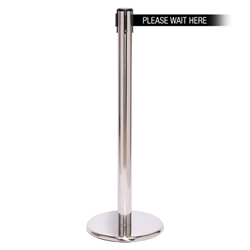 QueuePro 250, Polished Stainless, Barrier with 11' PLEASE WAIT HERE Belt