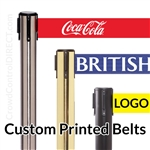 "Premium Belt Barrier with 11' ft X 3"" WIDE CUSTOM Printed Belt - SPECIAL"