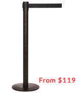 "Ultra-Slim Profile 11' ft. Belt Stanchion - Indoor Black Finish - ""Q-Boss"" QB500CV"