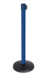 QueueWay-PLUS Tension Belt Stanchion, Blue Post, 10' ft. Belt