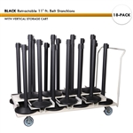 SET: 18 BLACK Retractable 11' ft. Belt Stanchions, with Vertical Storage Cart