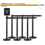 SET: 6 BLACK Retractable 11' ft. Belt Stanchions, with Sign