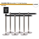 SET: 6 POLISHED STEEL Retractable 11' ft. Belt Stanchions, with Sign