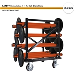 SET: 12 SAFETY Retractable 11' ft. Belt Stanchions, with Storage Cart