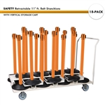 SET: 18 Safety Retractable 11' ft. Belt Stanchions, with Vertical Storage Cart