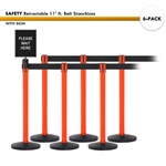 SET: 6 SAFETY Retractable 11' ft. Belt Stanchions, with Sign