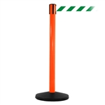 SafetyMaster 450, Orange, Barrier with 11' Green/White Diagonal Belt