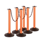 "Kit: ChainBoss Indoor/Outdoor 3"" molded stanchion with orange post, fillable base and 10' of 2"" Black plastic Chain (6PACK)"