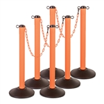 "Kit: ChainBoss Indoor/Outdoor 3"" molded stanchion with orange post, fillable base and 10' of 2"" Orange plastic Chain (6PACK)"