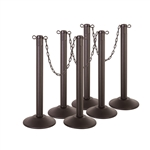 "Kit: ChainBoss Indoor/Outdoor 3"" molded stanchion with black post, fillable base and 10' of 2"" Black plastic Chain (6PACK)"