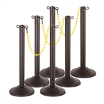 "Kit: ChainBoss Indoor/Outdoor 3"" molded stanchion with black post, fillable base and 10' of 2"" Yellow plastic Chain (6PACK)"