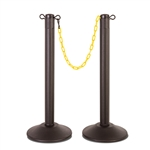 "ChainBoss Indoor/Outdoor 3"" molded stanchion with black post, 15lb. Duracast pre-filled base and 10' of 2"" Yellow plastic Chain (2 pack)"
