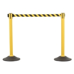 US Weight Sentry Stanchion, Yellow HDPE Post, Yellow/Black Chevron 6.5' ft. Belt (2-Pack)