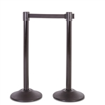 Premium Retractable Belt Stanchion - Black steel post with 15lb base & 7.5' black belt (2 pack)