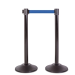 Premium Retractable Belt Stanchion - Black steel post with 15lb base & 7.5' blue belt (2 pack)
