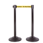 "Premium Retractable Belt Stanchion - Black steel post with 15lb base & 7.5' ""Caution - Do Not Enter"" belt (2 pack)"