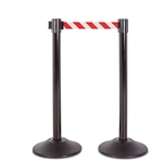 Premium Retractable Belt Stanchion - Black steel post with 15lb base & 7.5' danger red/white chevron belt (2 pack)