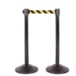 Premium Retractable Belt Stanchion - Black steel post & with 15lb base & 7.5' safety yellow/black chevron belt (2 pack)