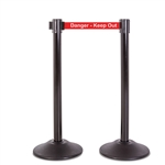 "Premium Retractable Belt Stanchion - Black steel post with 15lb base & 7.5' ""Danger - Keep Out"" belt (2 pack)"