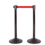 Premium Retractable Belt Stanchion - Black steel post with 15lb base & 7.5' red belt (2 pack)