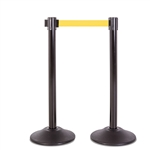 Premium Retractable Belt Stanchion - Black steel post with 15lb base & 7.5' yellow belt (2 pack)